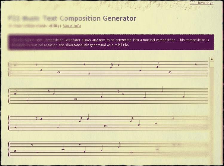 captura de pantalla da partitura de Sediame eu segundo o P22 Text Music Generator